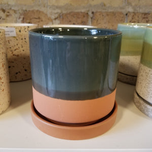 "Ceramic Pot with Saucer, Terra Cotta || 5"" x 5"""
