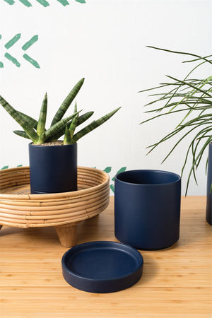 "Ceramic Pot with Saucer || 5"" in Matte Navy"