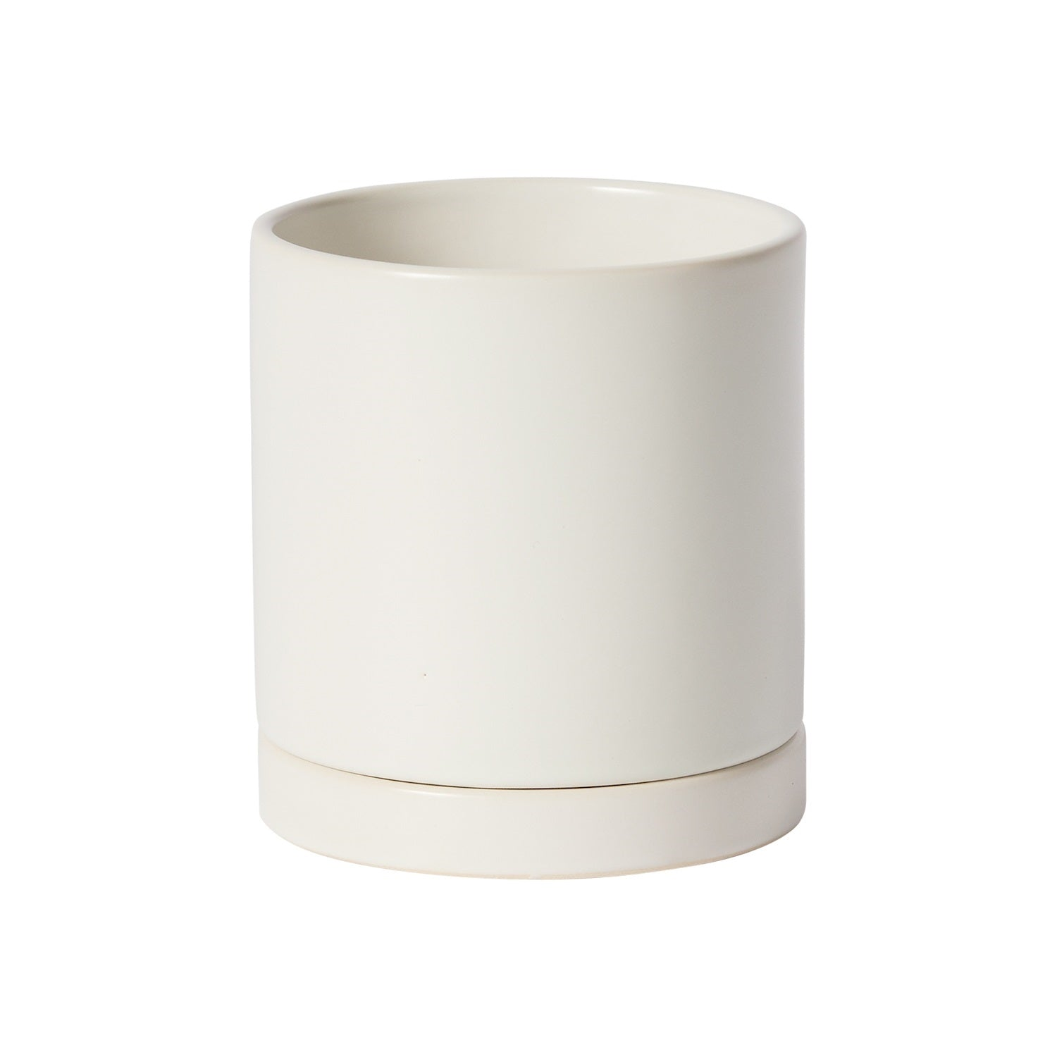 "Ceramic Pot with Saucer || 4.25"" in Matte White"