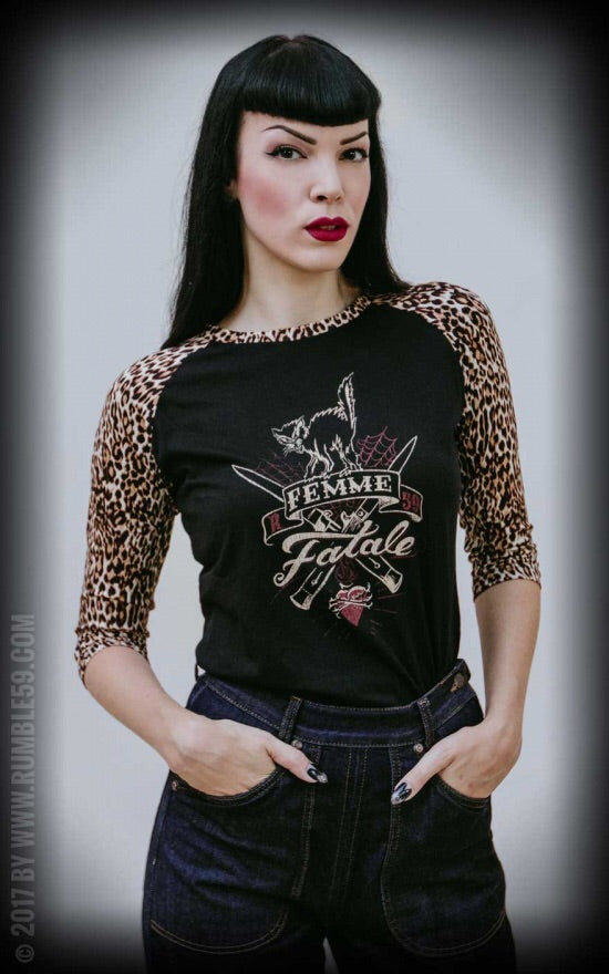 Ladies Raglan Shirt with leo patch - Femme Fatale