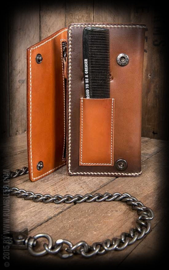"Leather Wallet ""Comb"" - sunburst handmade"