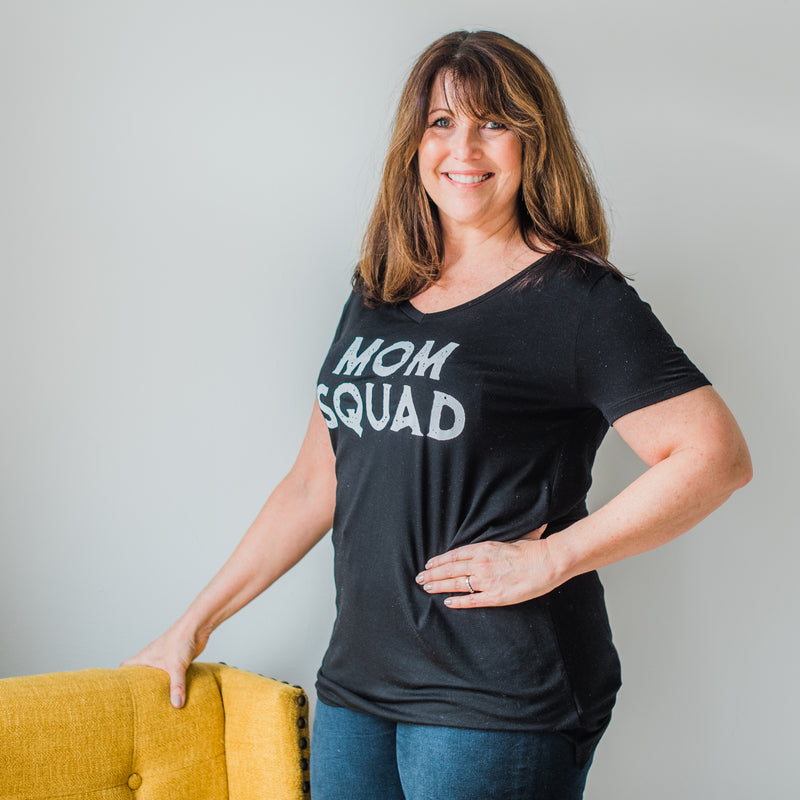 """Mom Squad"" V-Neck Graphic Tee"