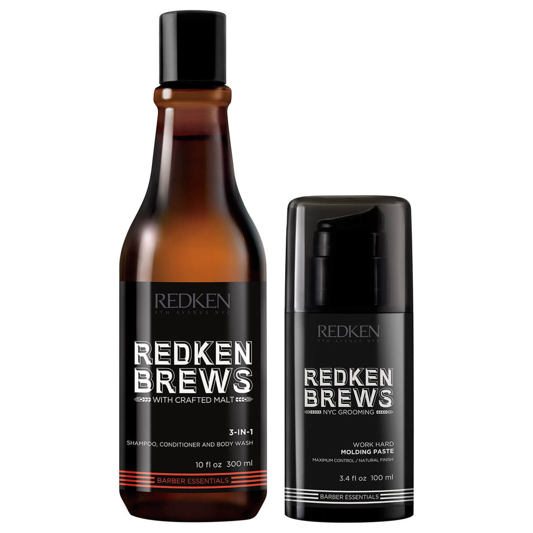 REDKEN BREWS 3-IN-1 SHAMPOO & MOLDING PASTE GIFT SET