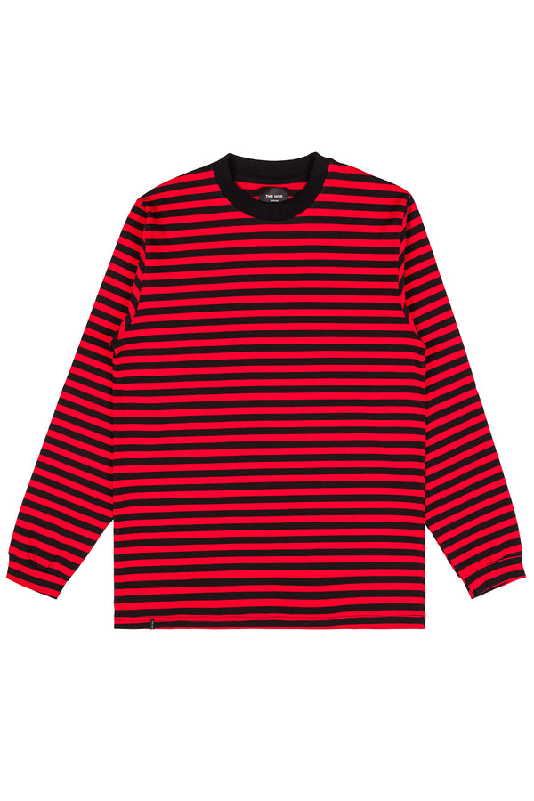 STRIPES LONGSLEEVE RED'N'BLACK