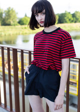 STRIPES TEE RED'n'BLACK