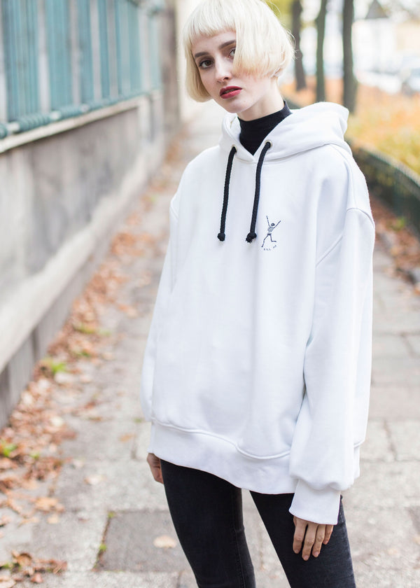 KILL ME HEAVY FLEECE HOODIE IN OFF WHITE L.E.