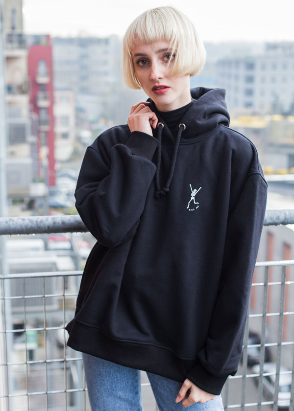 KILL ME HEAVY FLEECE HOODIE IN BLACK