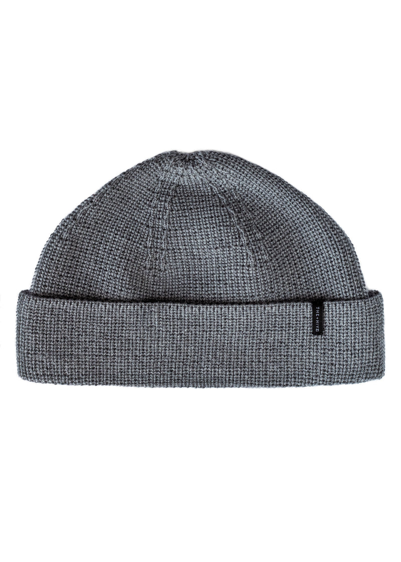 MERINO DOCKER SHORT BEANIE IN GREY