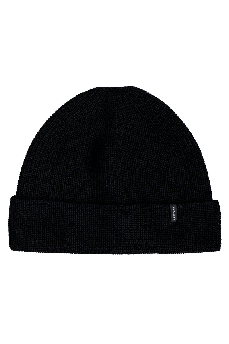 MERINO SINGLE BEANIE IN BLACK