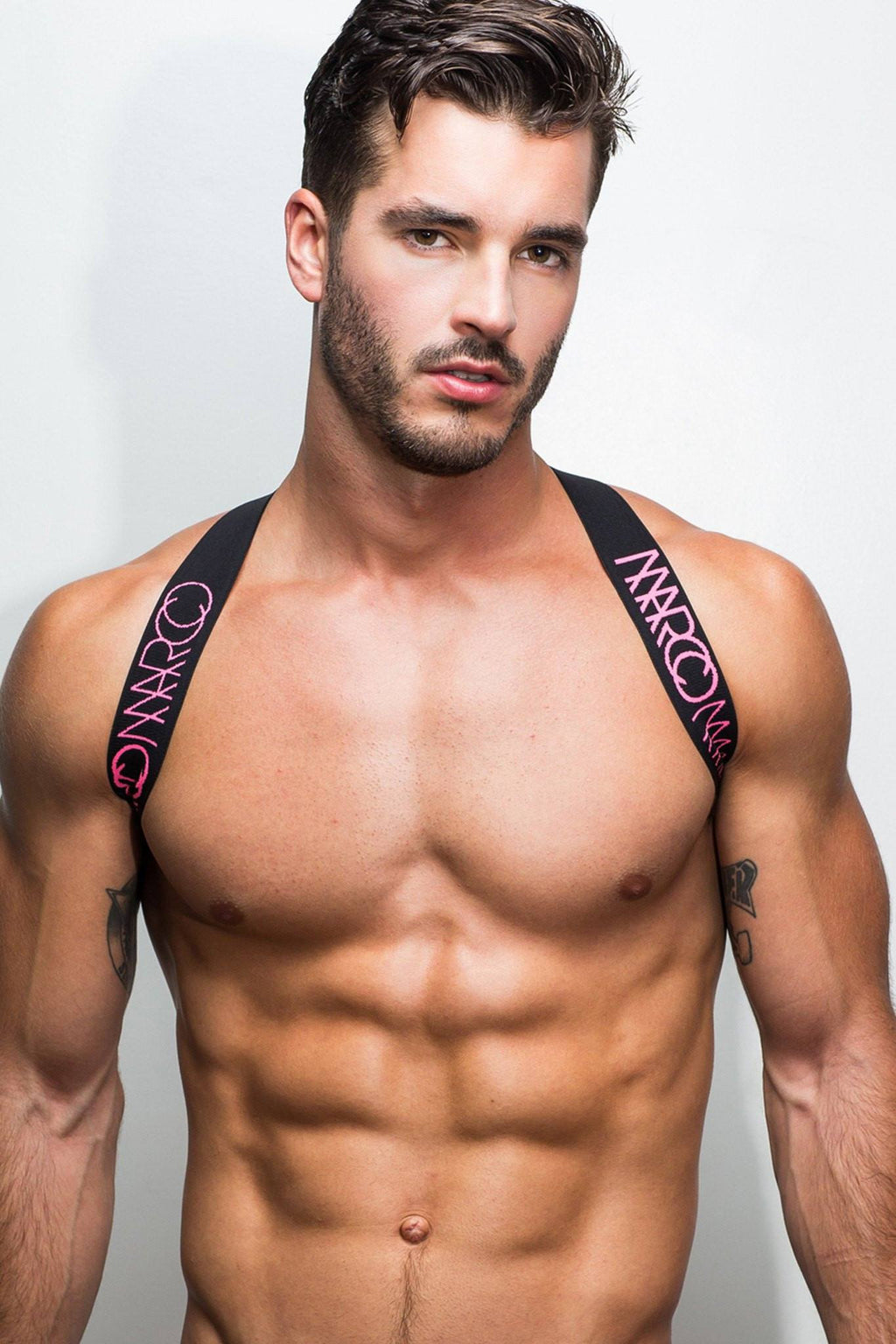 Elastic Harness by Marco Marco with Pink amd Black Logo Elastic