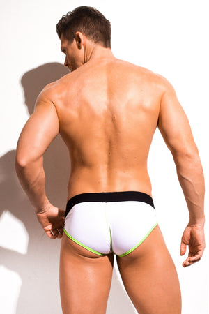 Designer Mens Underwear | Marco Marco | Neon Stitch Brief White