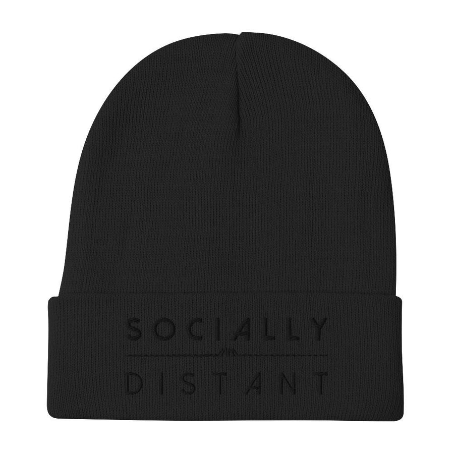 Socially Distant Beanie - Black Embroidery - Marco Marco