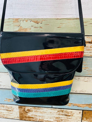 90s - Multicolor Stripe Snake Patten Bag