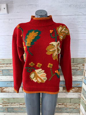 90s Mock Neck Acrylic Embroiled Leaves Sweater By Evian Ltd