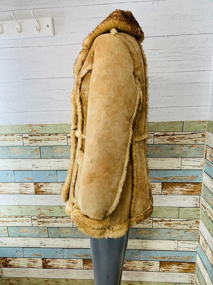 70s Shearling 3/4 Coat with Lapel Collar  By Gino Leather