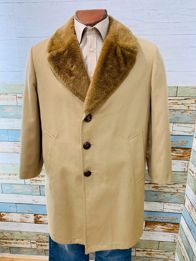 70s - Faux Fur Collar Coat - Hamlets Vintage
