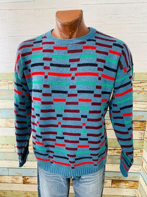 80s Multicolor Crew Neck Sweater By New image