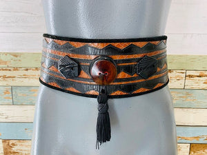 80s - Brown Shake & Leather Wide Belt With Tassel - Hamlets Vintage