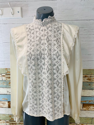 80's Long Sleeve - Victorian White Lace | Blouse - Hamlets Vintage