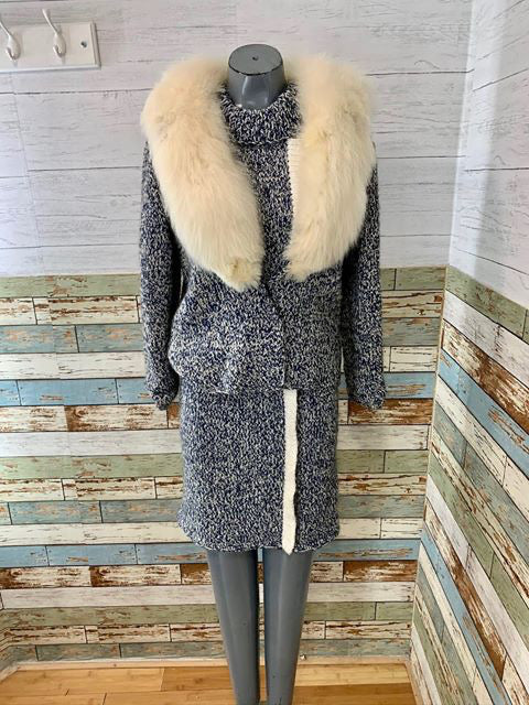 60s - Knit Dress Set With Fur Collar Over Jacket