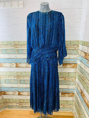 90s - Long Sleeve Silk Dress