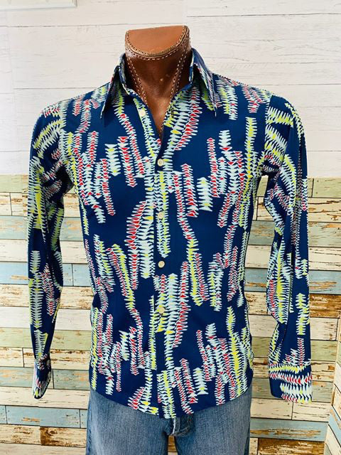 70s - Long Sleeve Abstract Print Shirt