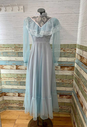 70s Prairie Maxi Long Sleeve Dress With Sheer Sleeves & Lace  Never Worn