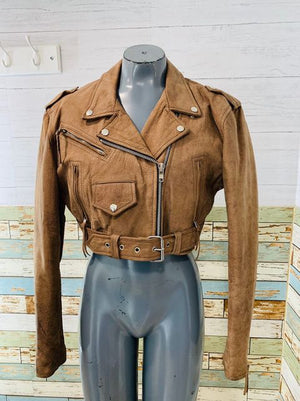 80s Crop Biker leather Brown  Jacket  By Diamond Leather Collection
