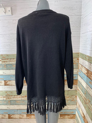 90s - Embroiled & Fringe Knit Sweater