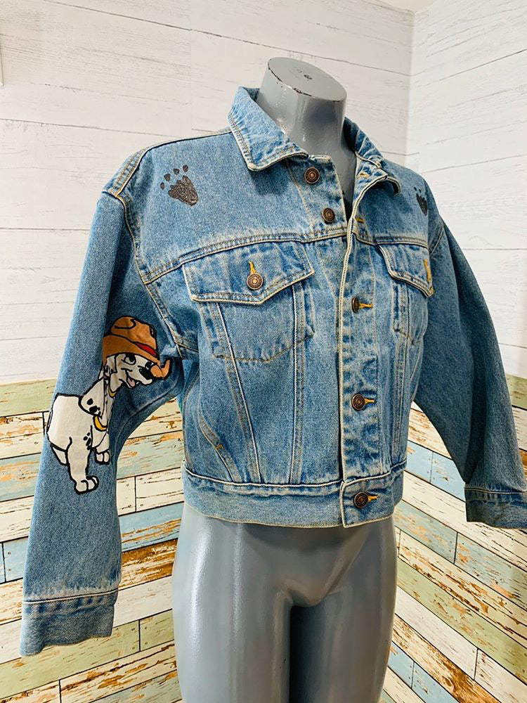 80s Painted Dalmatian Denim Jacket - Hamlets Vintage