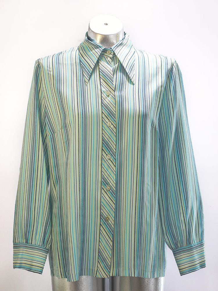 70s - Striped Long Sleeve Button up - Hamlets Vintage