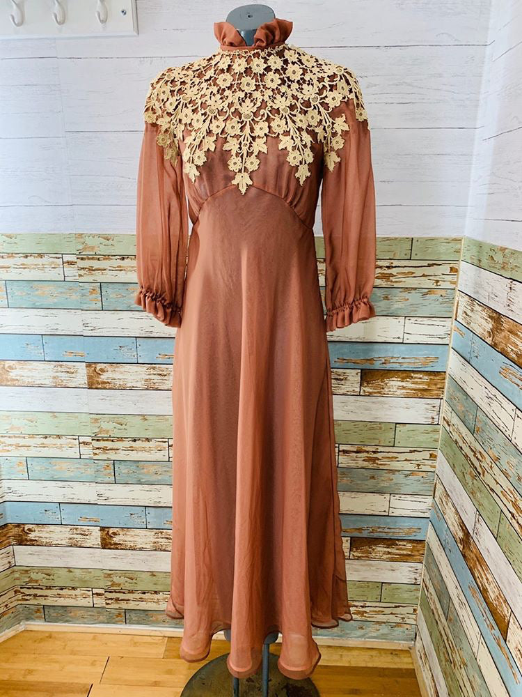 70s - Cocoa Brandy Sheer Maxi Dress With Lace - Hamlets Vintage