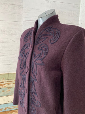 90s Plum Wool Coat With Embroiled Details  By Geiger