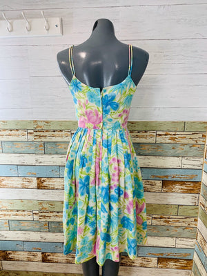 60's Sleeveless - Watercolor Floral Print Dress - Hamlets Vintage