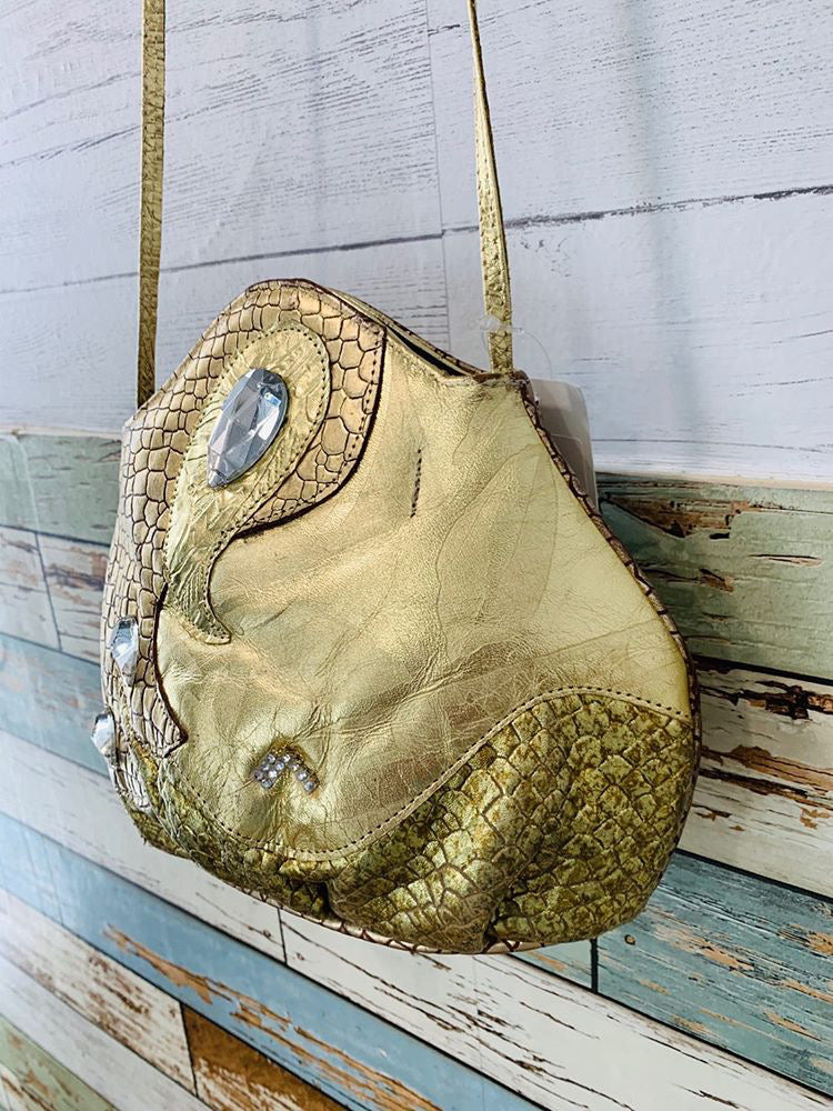80s - Gold Leather Snake Skin print purse