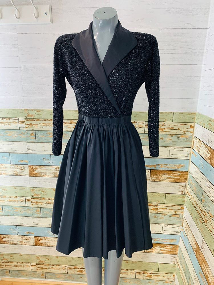 90s - By Halston Lurex Long Sleeve Wrap Full Skirt