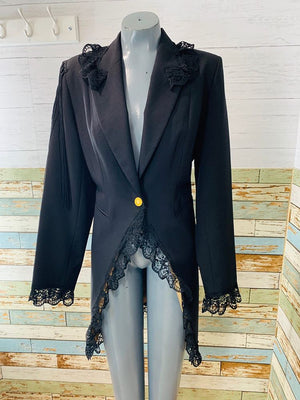 80s - Back Laced | Long Tail Style Blazer - Hamlets Vintage