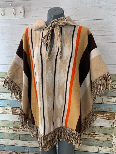 70s Cuddle Knit Stripe Poncho With Hoodie