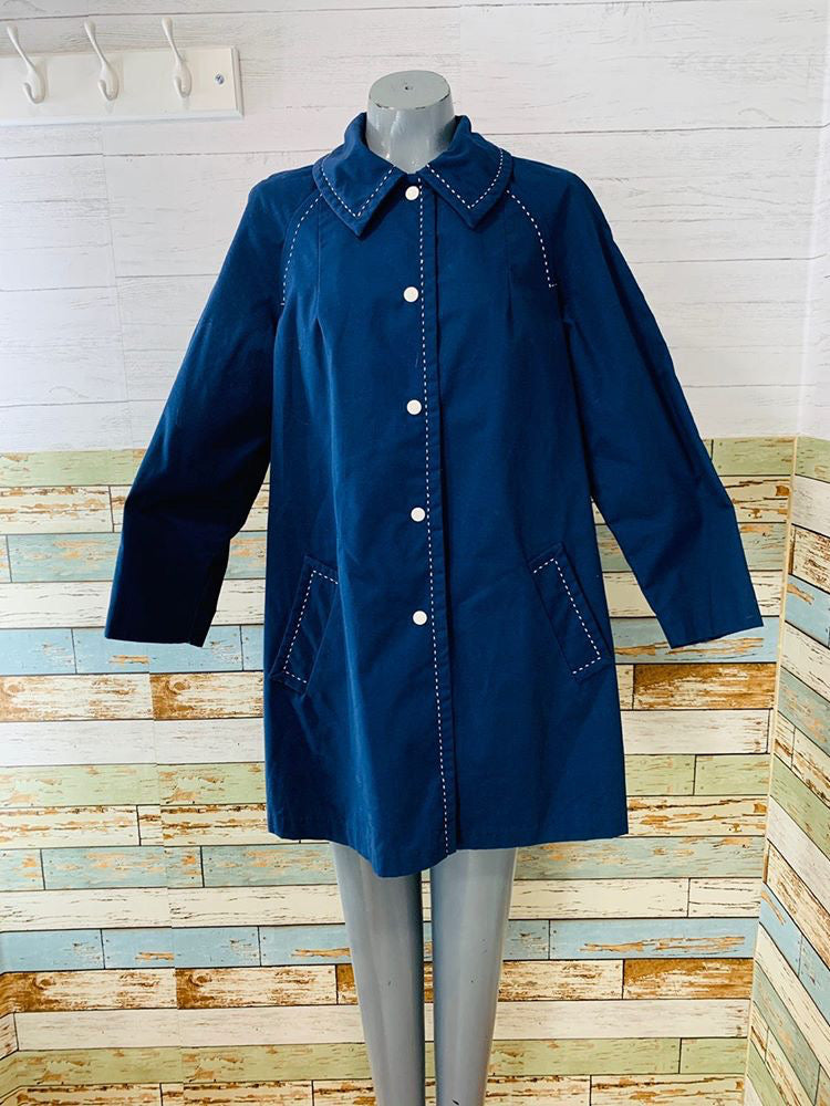 60s - Navy With Stitch A line Overcoat By Sharpee