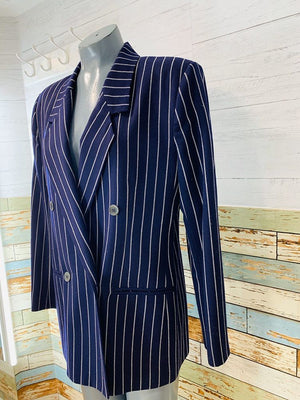80s wool pinstripe Double Breasted Blazer - Hamlets Vintage