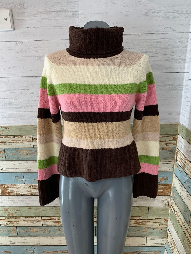 90s Multicolor Stripe Turtle Neck Sweater By Pout