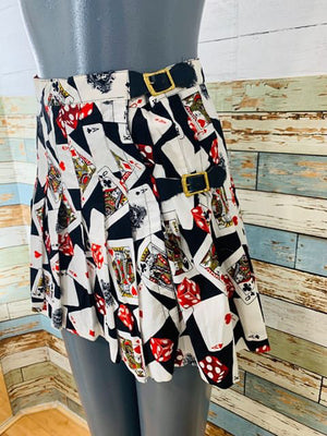 80s Mini Skirt Cards kilt Style Wrap - Hamlets Vintage