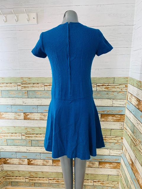 60s - Drop Waist Wool Short Dress