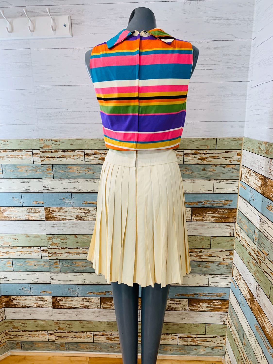 60's Striped Pleaded Drop Waist Dress - Hamlets Vintage