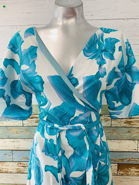 80's Wrap Around Turquoise Dress - Hamlets Vintage