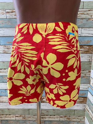 60's Hawaiian - Red & Yellow Shorts - Hamlets Vintage