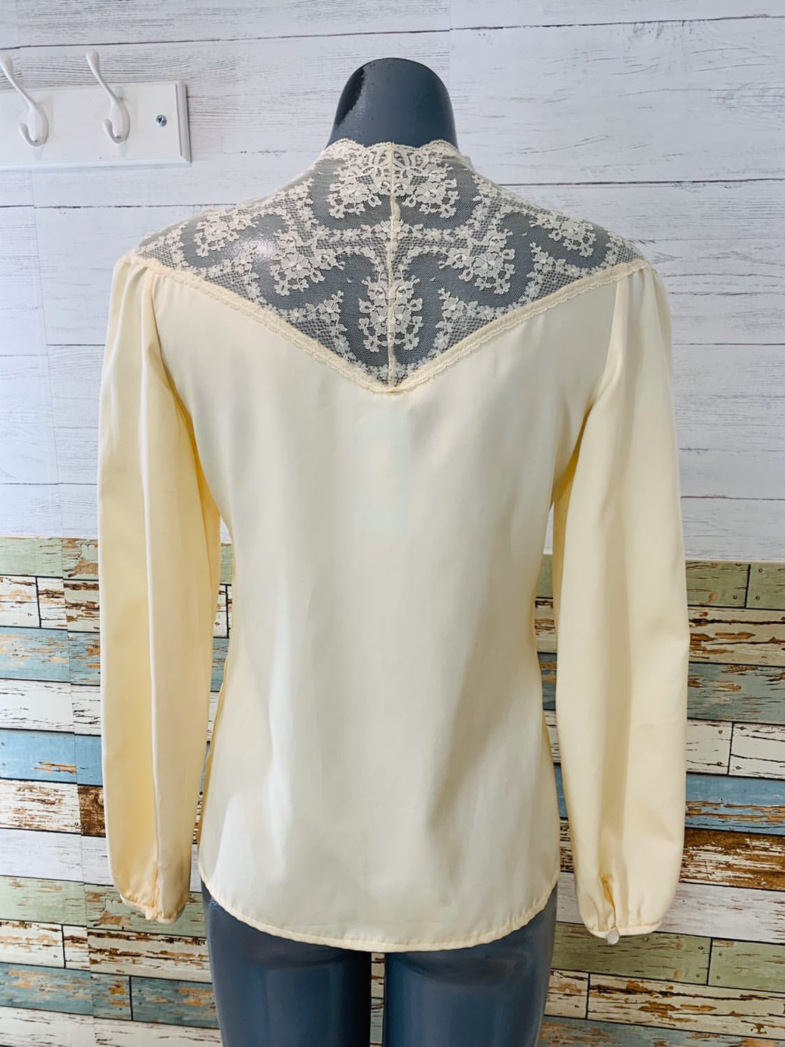 70's Long Sleeve - Cream Colored Lace | Blouse - Hamlets Vintage