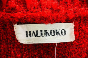 90s Red Knit Exaggerated Collar Maxi Sweater By Halukoko