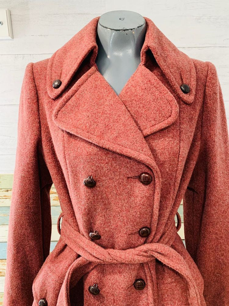 70s Double Breasted Wool Coat With Belt By Montello