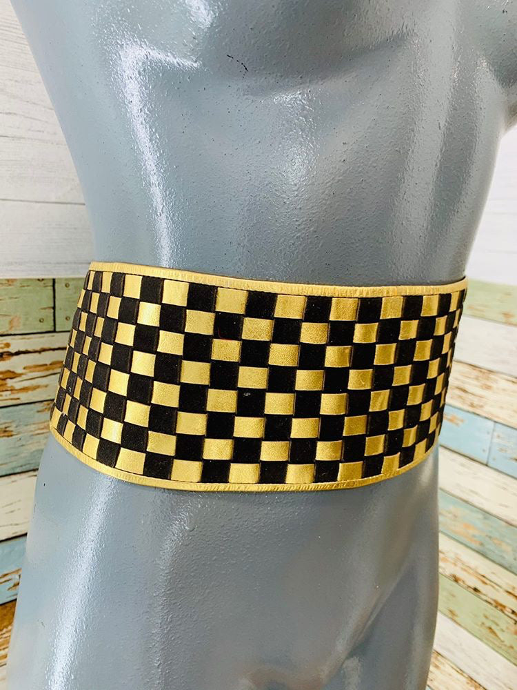 80s - Woven Wide checker Black Suede & Metal Gold Leather Belt